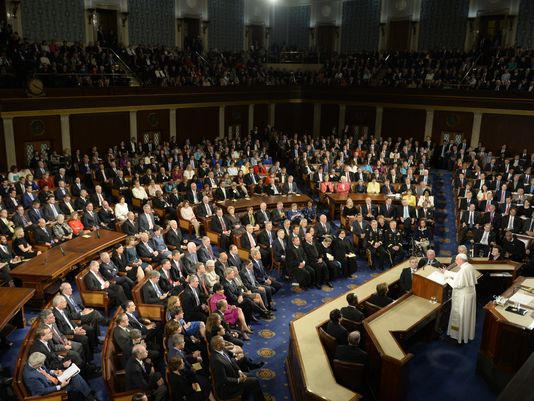 The Pope addresses the US Congress in 2015.