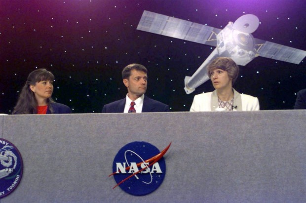 Astronaut and Air Force Col. Eileen Collins conducts a press conference prior to her space flight mission as the first woman space shuttle commander, in 1999.