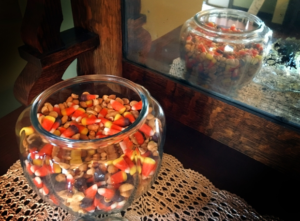 Bowl of candy corn and peanuts