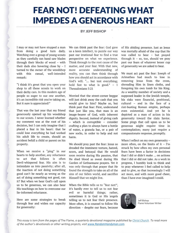 This essay is torn from the pages of the Fall 2018 issue of The Flame, a quarterly devotional magazine.