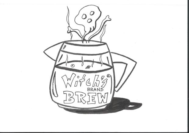A pot of Witch's Brew brand coffee